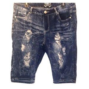 Thrill Jeans Dark Wash Ripped Bermuda Shorts